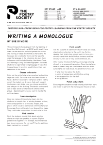 writing a monologue - Poetry Class | Poetry Society
