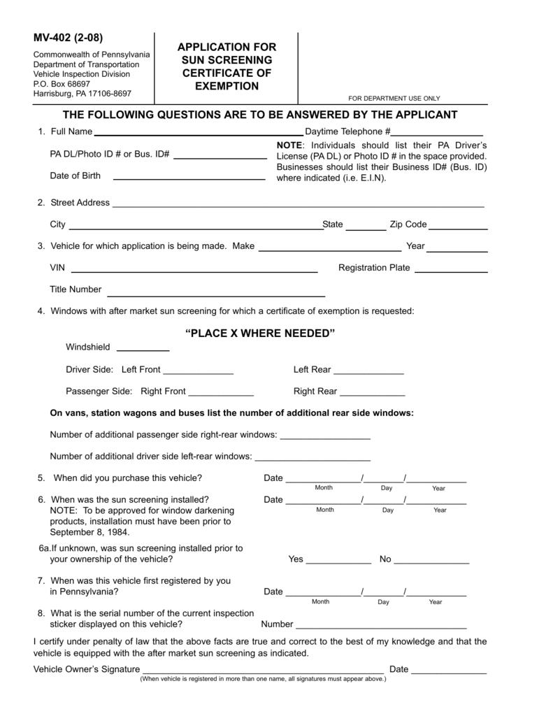 graphic relating to Printable Mv-1 Form, Pennsylvania named PennDOT Variety MV-402