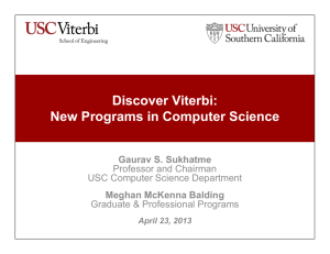 Discover Viterbi: New Programs in Computer Science