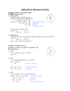 Angle and Arc Measures of a Circle