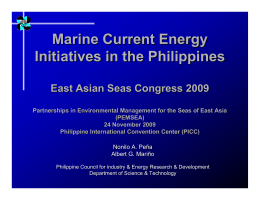 Marine Current Energy Initiatives in the Philippines