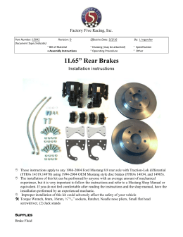 Table of Contents - Factory Five Parts Catalog