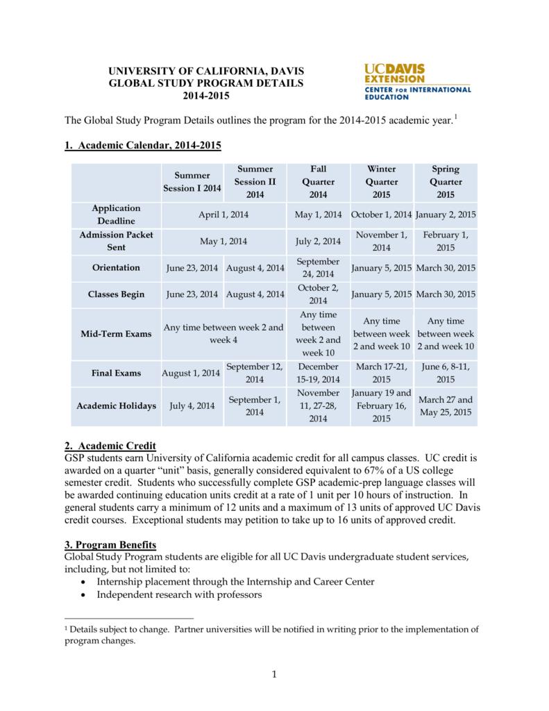 Uc Davis Academic Calendar.University Of California Davis Global Study Program