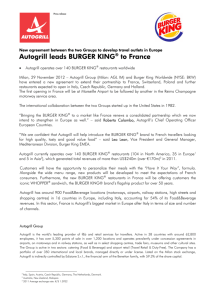 Autogrill leads BURGER KING® to France