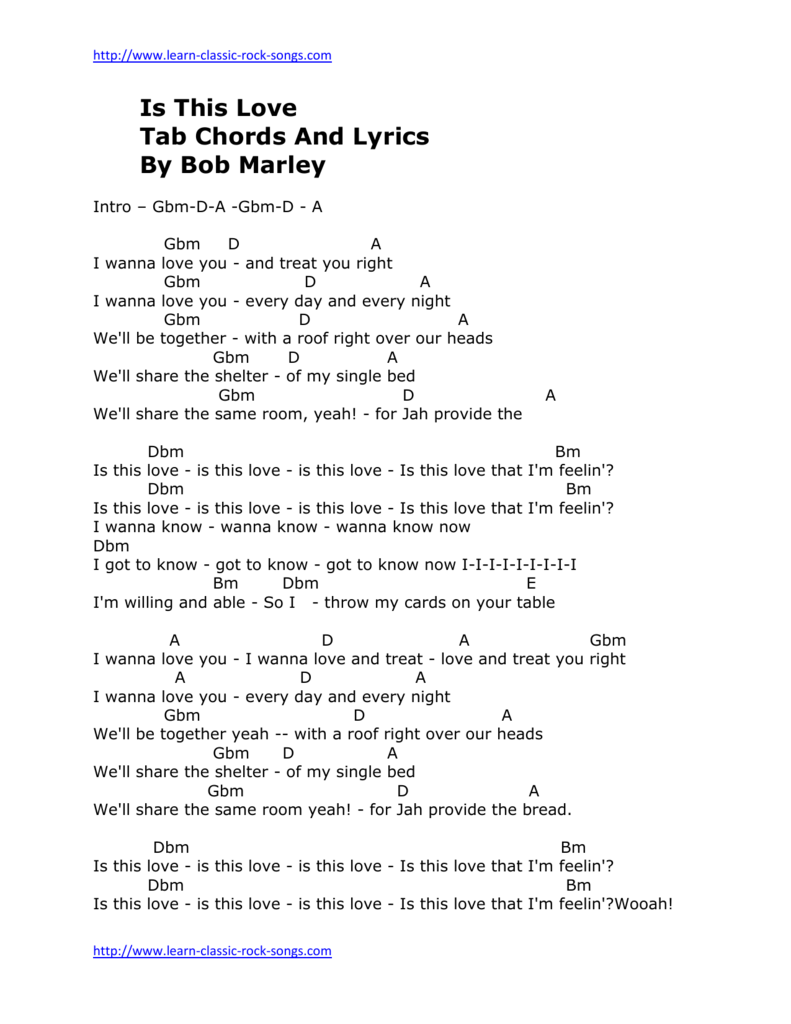 Is This Love Tab Chords And Lyrics By Bob Marley