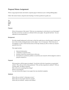 Proposal Memo Assignment