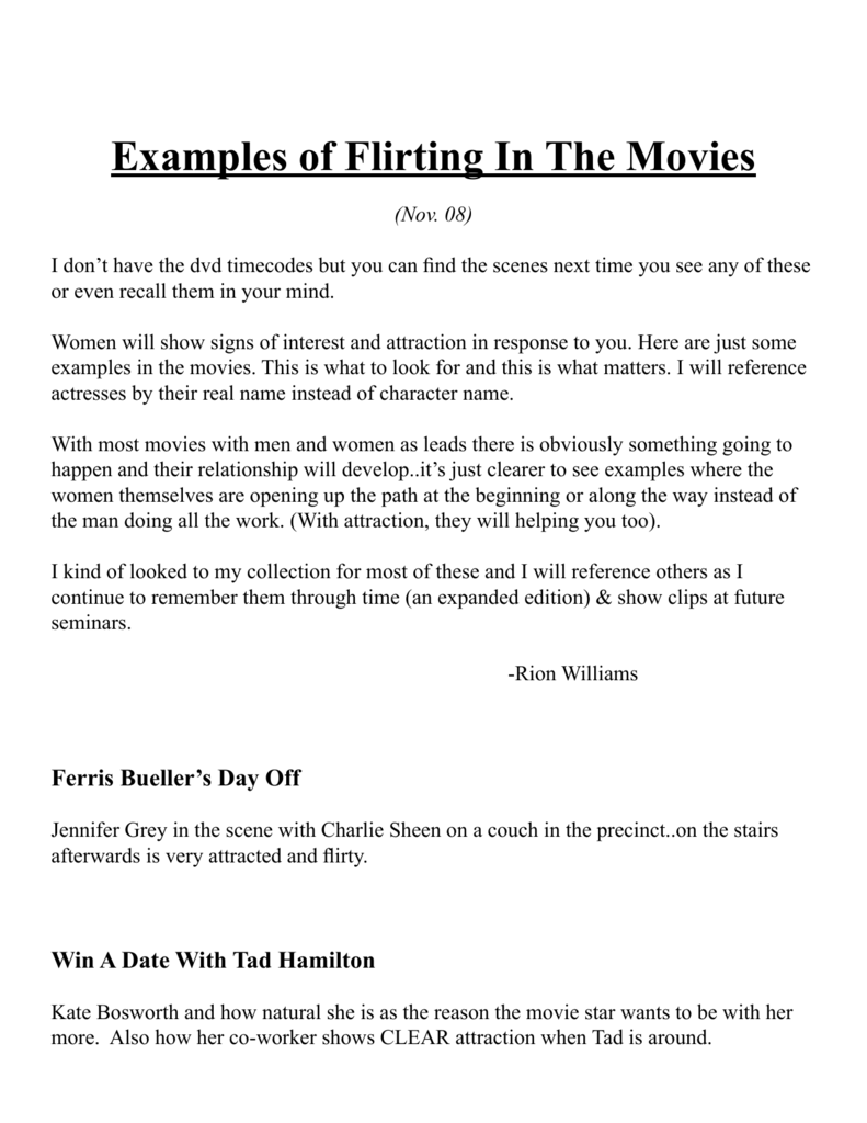 Examples of Flirting In The Movies