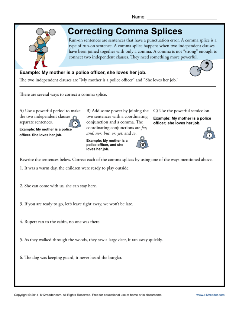 worksheet Comma Splice Worksheet correcting comma splices punctuation worksheets