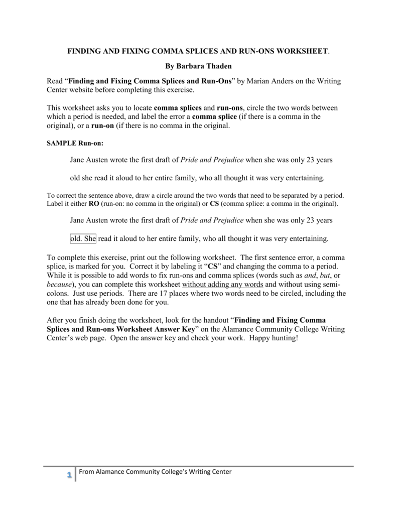 Comma Splices And Run Ons Worksheet The Best and Most – Comma Splices Worksheet