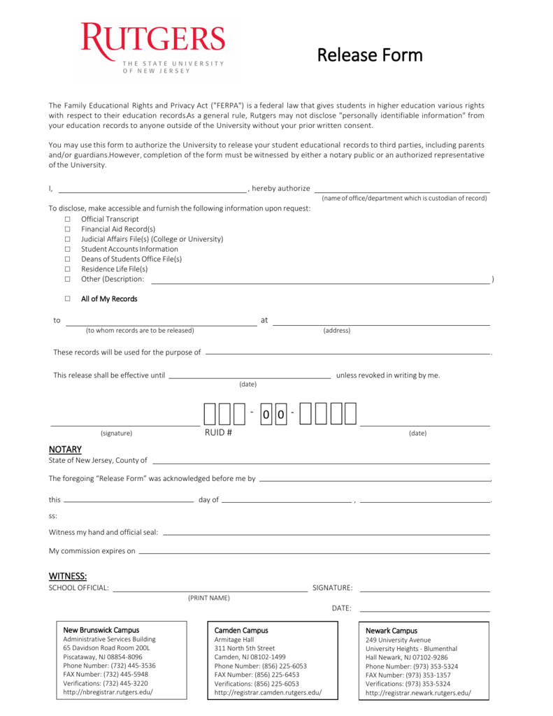 ferpa form rutgers  Release Form - Office of Financial Aid
