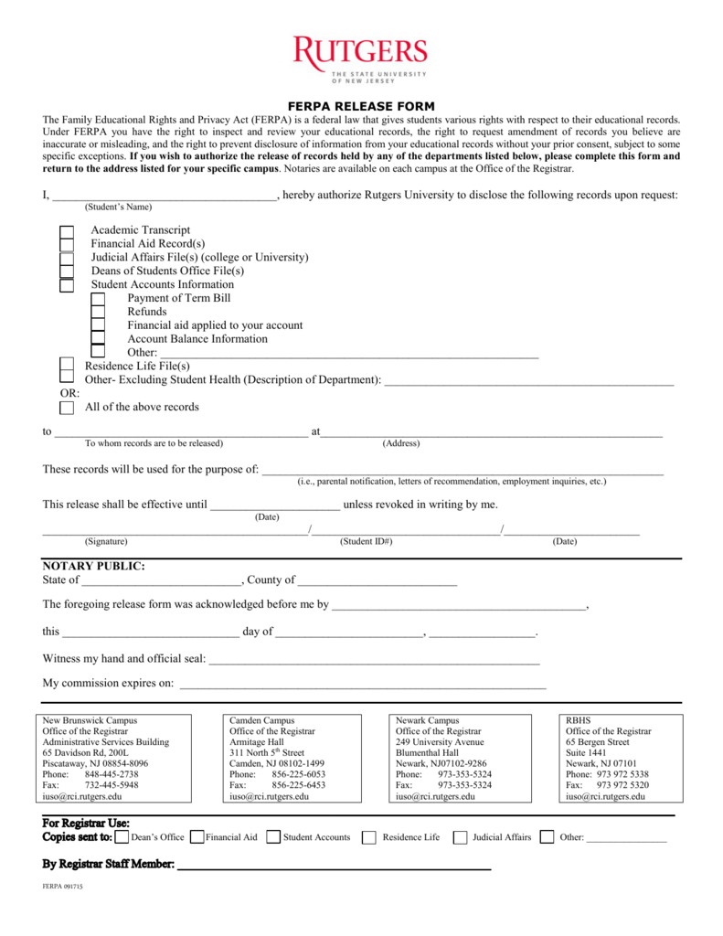 ferpa form hunter college  FERPA RELEASE FORM I - Rutgers-Newark