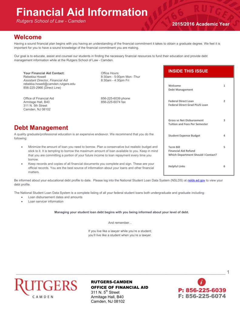 Financial Aid Information Rutgers School Of Law