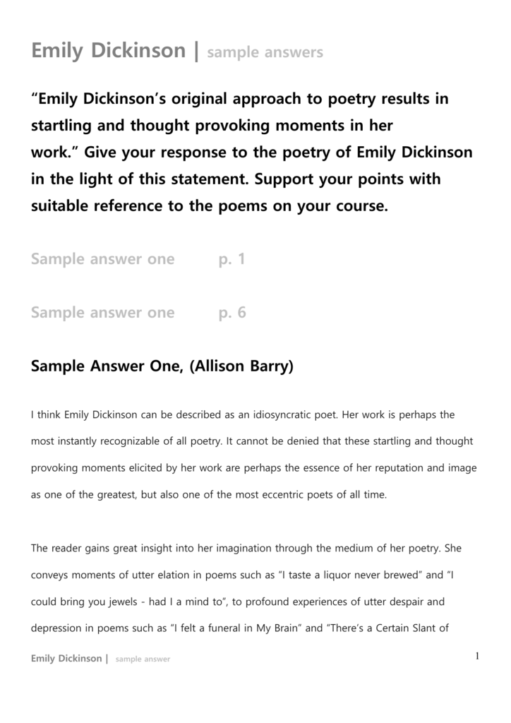 write an essay on the theme of death in emily dickinsons poetry