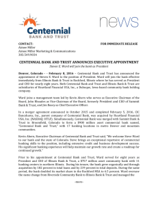 centennial bank and trust announces executive appointment