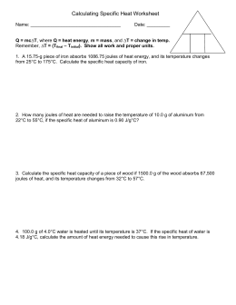 Specific Heat Worksheet #2