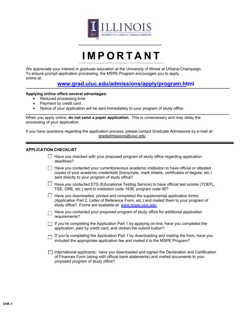 University Of Illinois Application For Graduate Admission