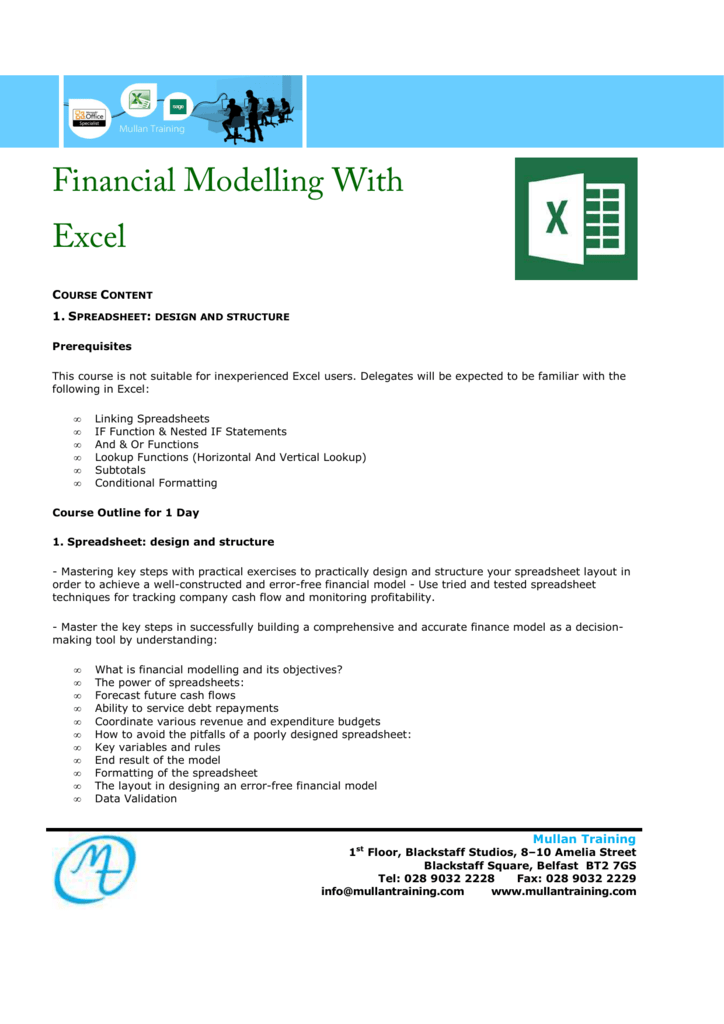 MS Financial Modeling With Excel 1 Day _11