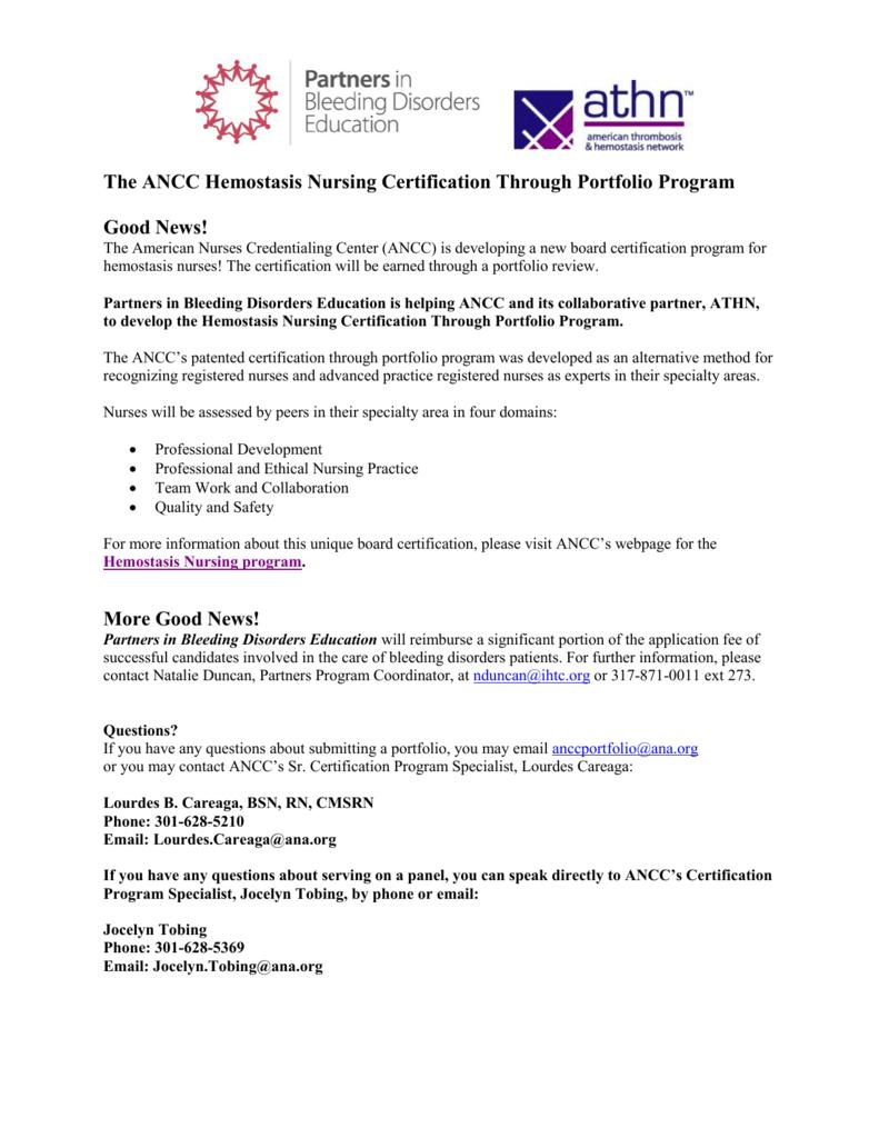 The Ancc Hemostasis Nursing Certification Through Portfolio