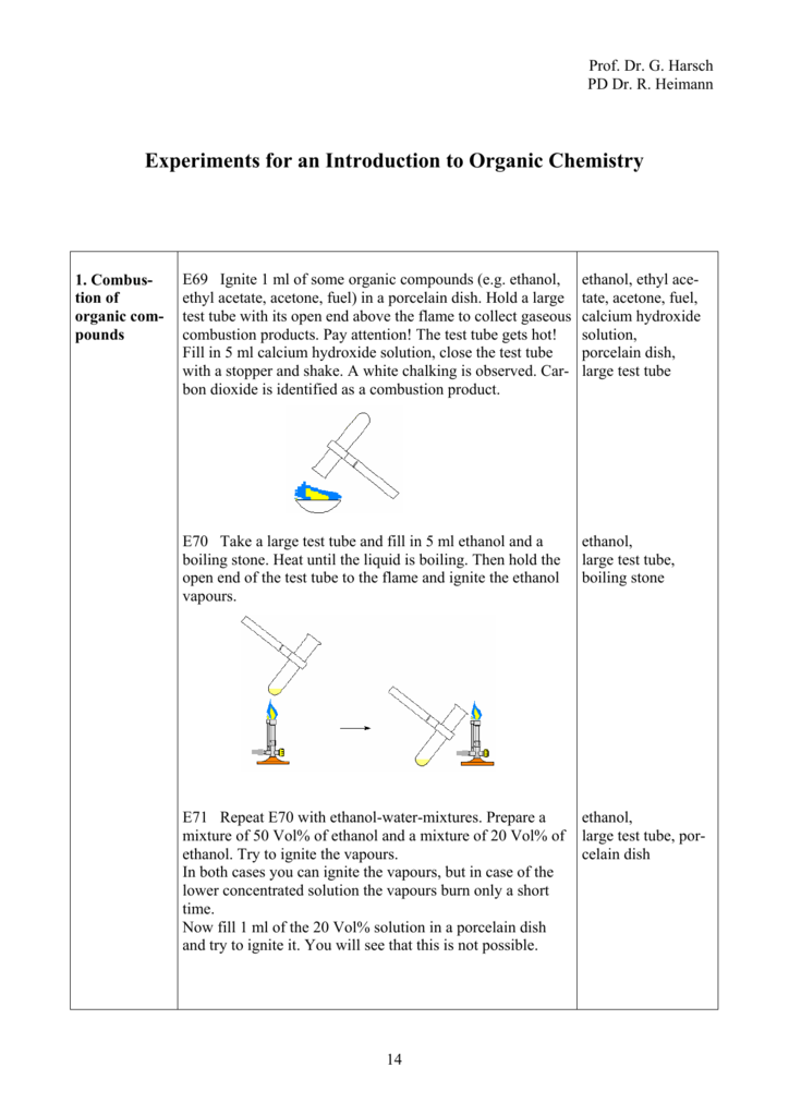 Experiments for an Introduction to Organic Chemistry