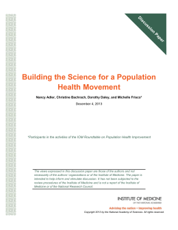 Building the Science for a Population Health Movement