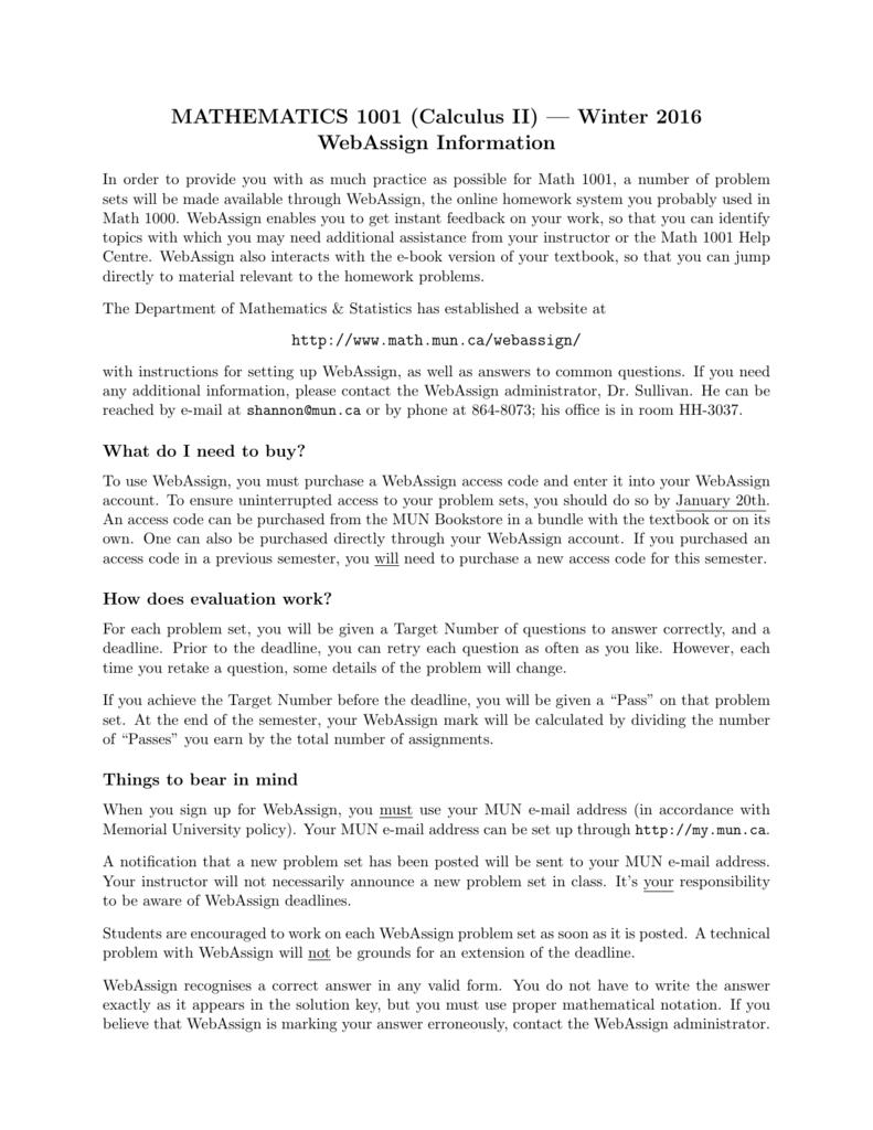 MATHEMATICS 1001 (Calculus II) — Winter 2016 WebAssign