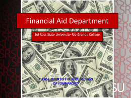 Financial Aid Department - Sul Ross State University