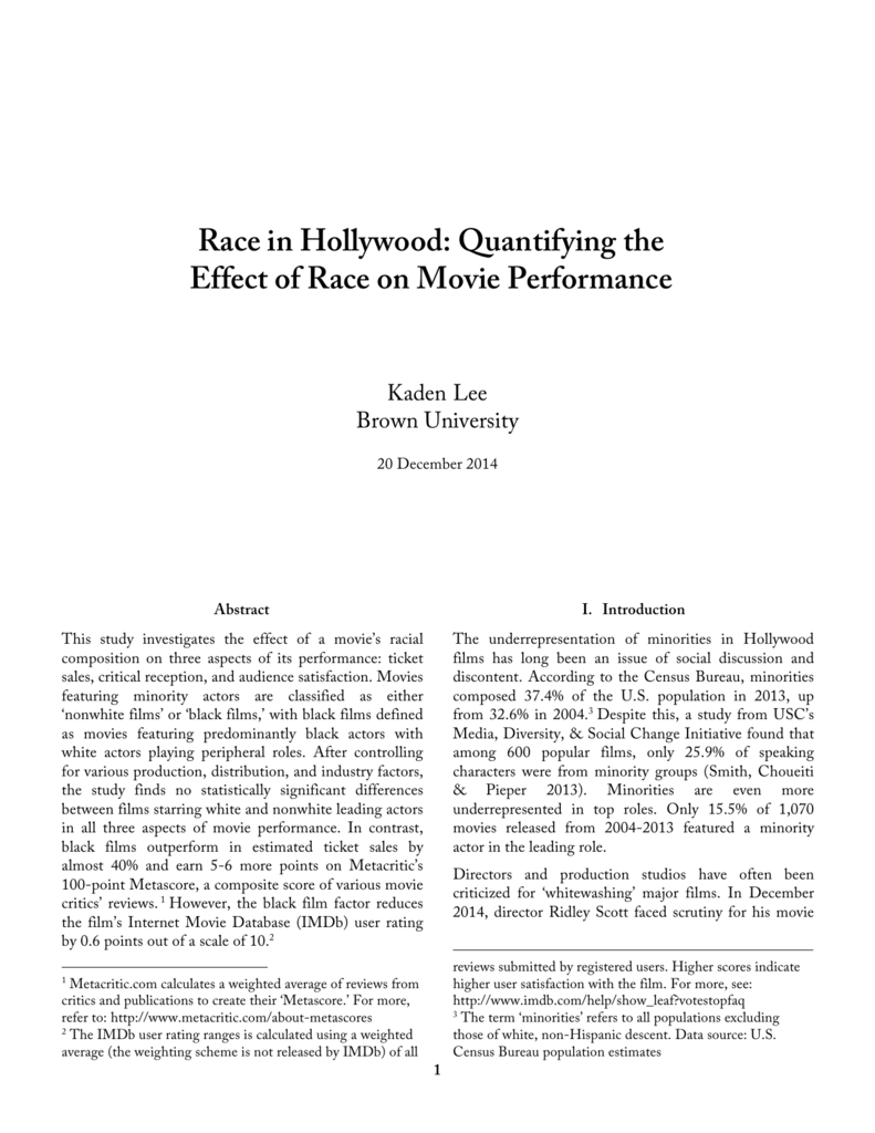 Race in Hollywood: Quantifying the Effect of Race