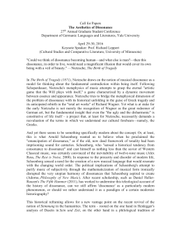 CALL FOR PAPERS, Yale: The Aesthetics of Dissonance