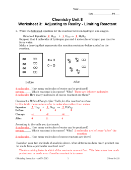 Chemistry Unit 8 Worksheet 3: Adjusting to Reality