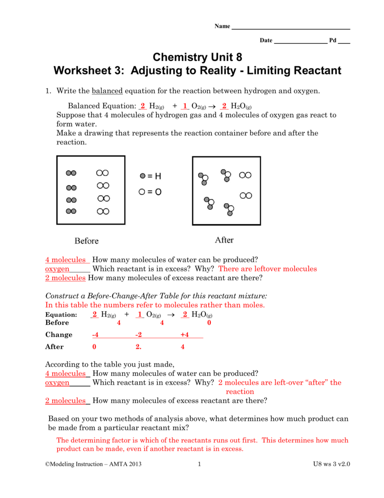 Chemistry Unit 8 Worksheet 3 Adjusting to Reality – Limiting Reactant Problems Worksheet