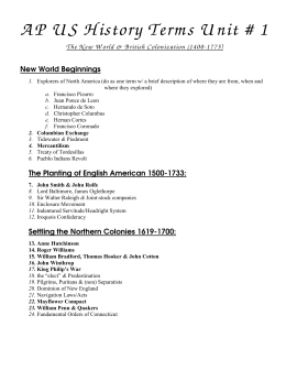 AP US History Terms Unit # 1 The New World & British Colonization