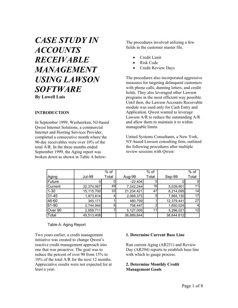 case study in accounts receivable management using lawson software