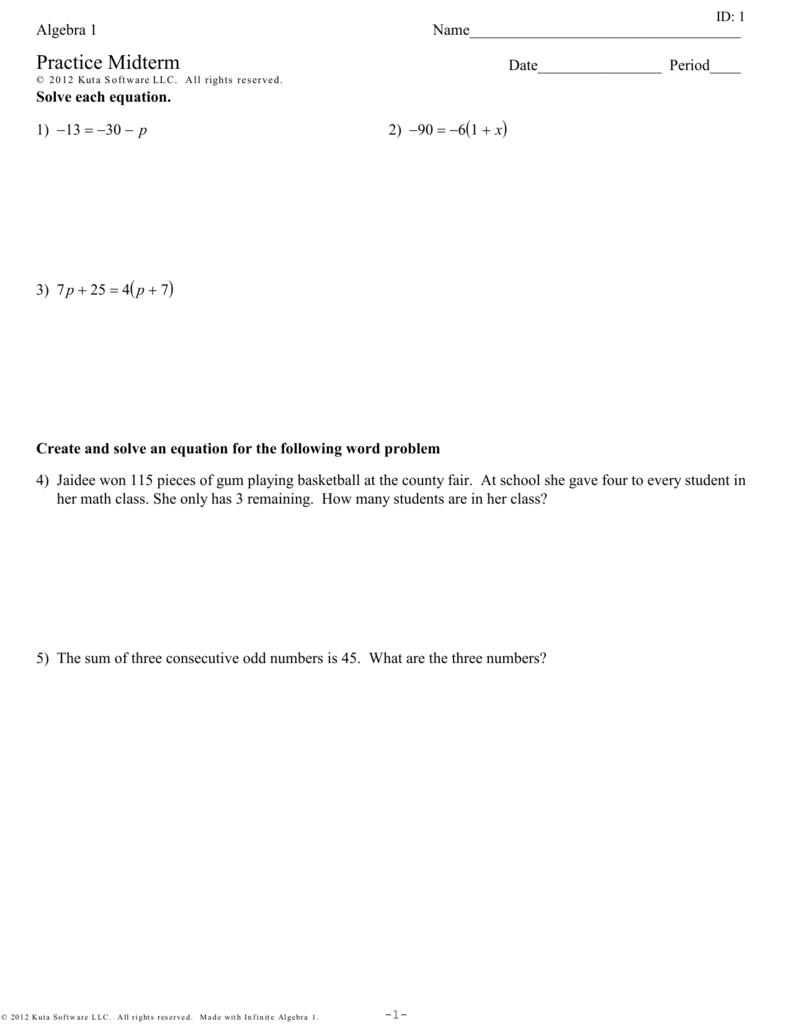 Algebra 1 Practice Midterm