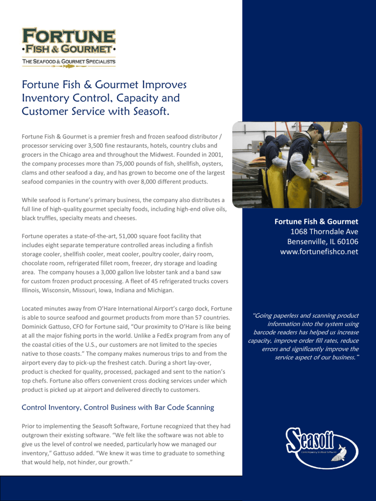 Fortune Fish & Gourmet Improves Inventory Control, Capacity and