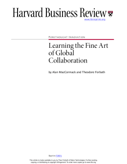 Learning the Fine Art of Global Collaboration