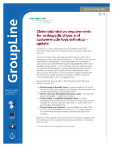 Claim submission requirements for orthopedic shoes - Great