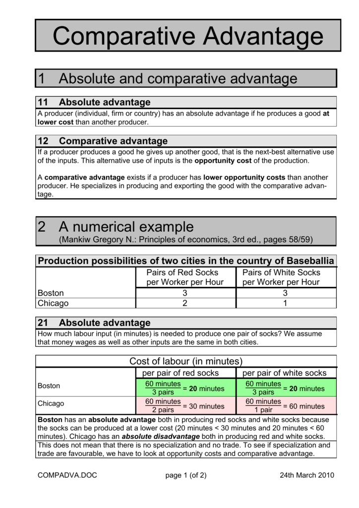 1 Absolute And Comparative Advantage 2 A Numerical Example