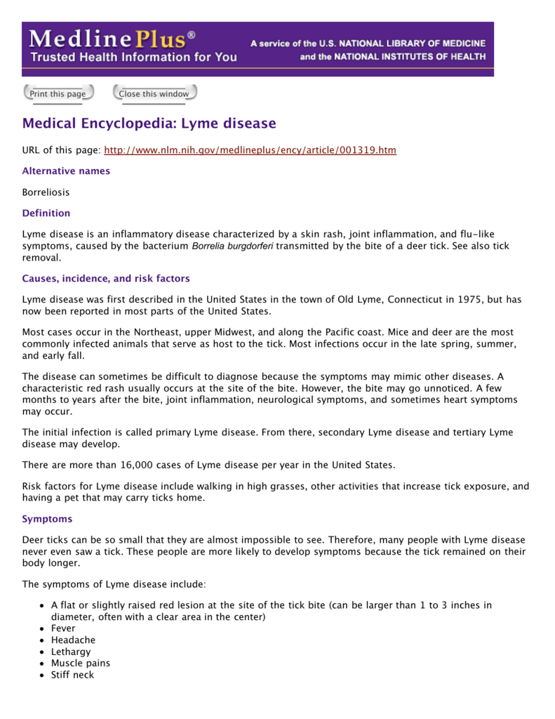 Medical Encyclopedia: Lyme disease