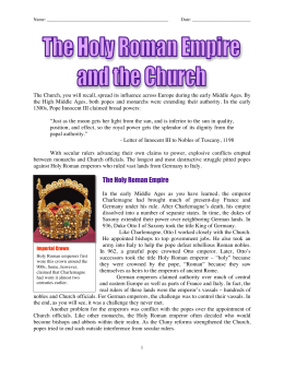 The Holy Roman Empire & The Church