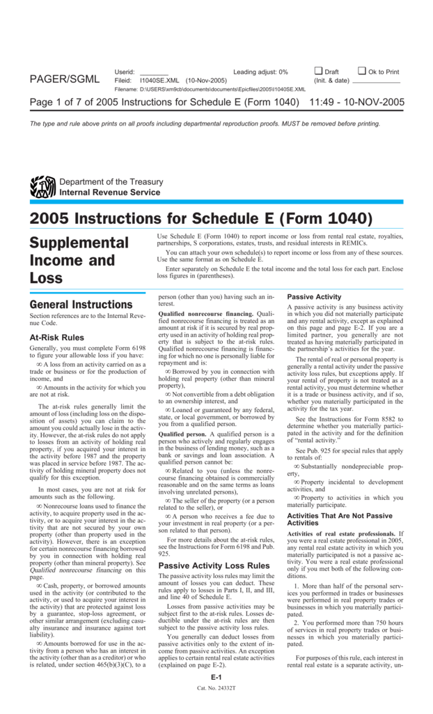 Instructions For Schedule E Form 1040