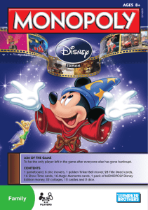 Monopoly Disney Edition 2010 Instructions