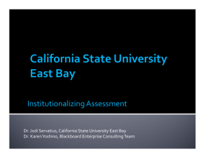 Institutionalizing Assessment