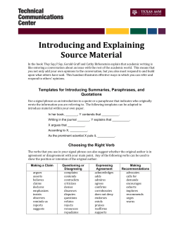 Introducing and Explaining Source Material