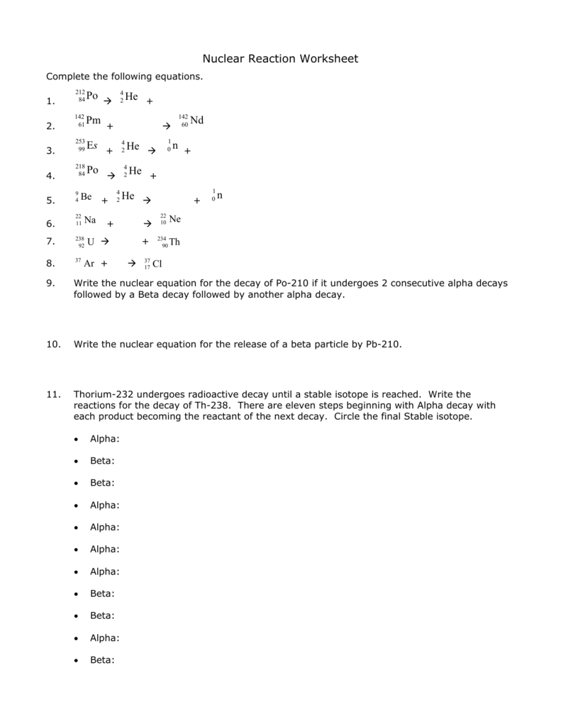 Nuclear Reaction Worksheet