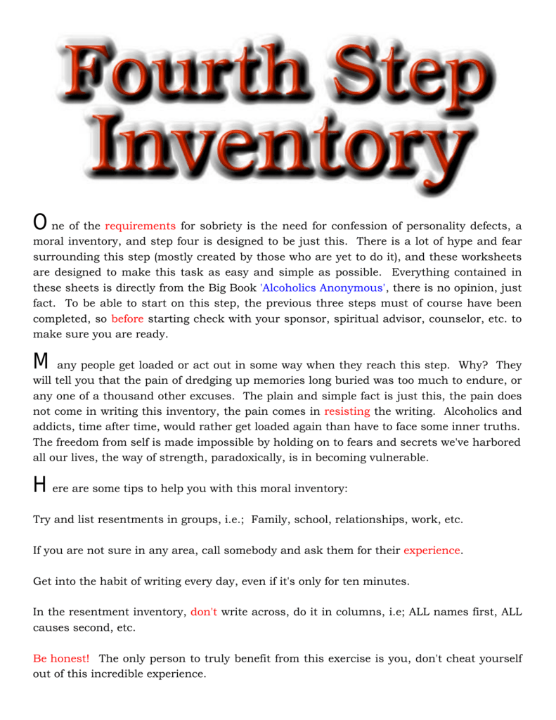 Worksheets 4th Step Inventory Worksheets 4th step help