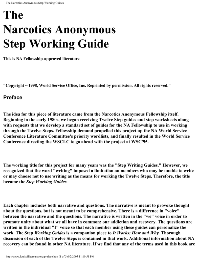 Worksheets Narcotics Anonymous 12 Steps Worksheets na step working guides