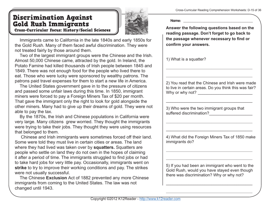 - 4th Grade Reading Comprehension Worksheets