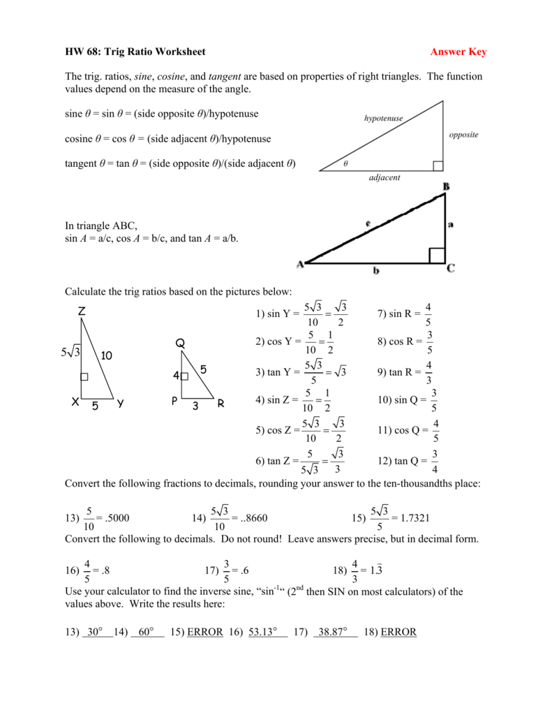 worksheet Sin Cos Tan Worksheet With Answers trig ratio worksheet answer key the ratios sine cosine and