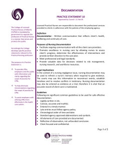documentation - College of Licensed Practical Nurses of Alberta