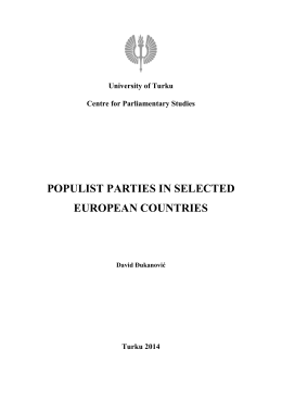 POPULIST PARTIES IN SELECTED EUROPEAN COUNTRIES